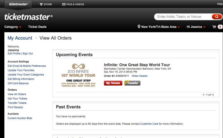 A screenshot of the GA e-ticket I had bought from Ticketmaster.